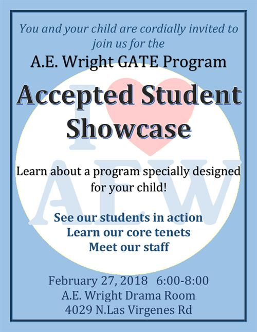GATE Accepted Student Showcase, February 27, 2018