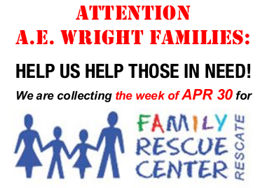 Family Rescue Center Food Drive - Week of April 30 - May 4