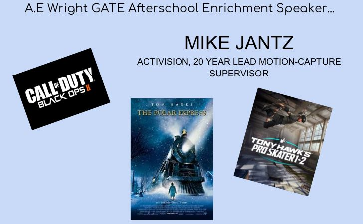GATE After School Enrichment Speaker: Mr. Mike Jantz - Wednesday, March 10th from 1:30 - 2:30 pm
