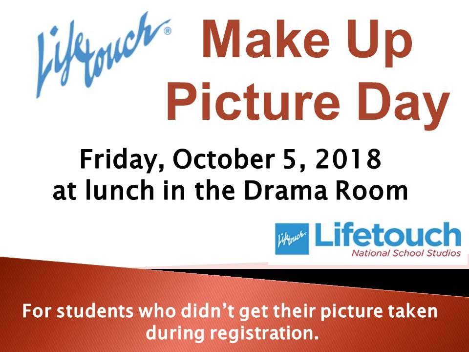 Make-up Picture Day: Friday, October 5th
