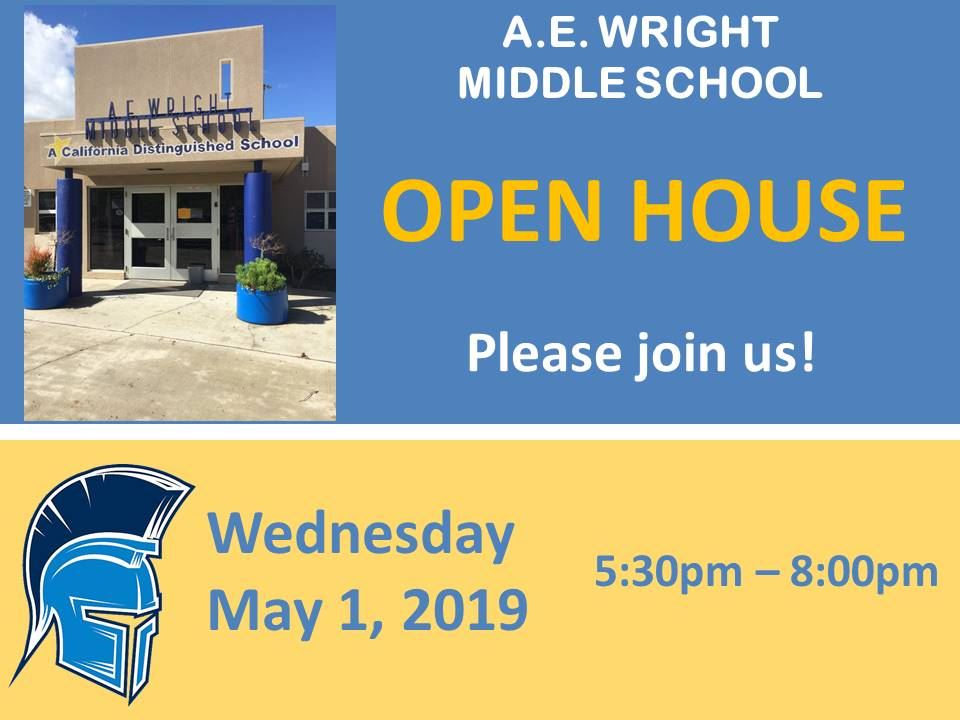 AE Wright Middle School Open House: Wednesday, May 1, 2019 from 5:30 - 8:00 pm