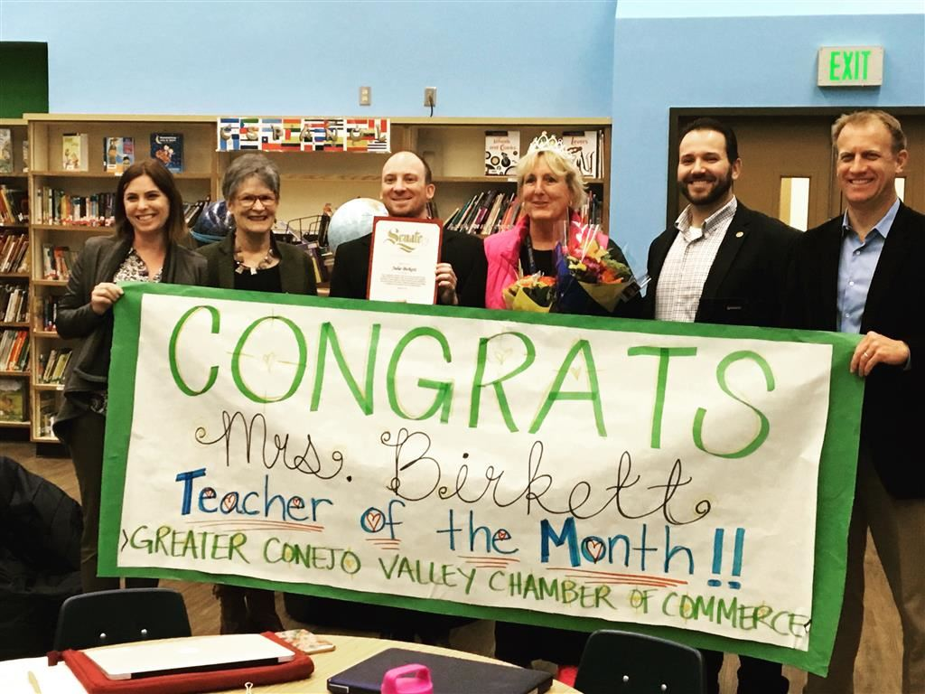 "Mrs. Birkett Honored ""Teacher of the Month"""