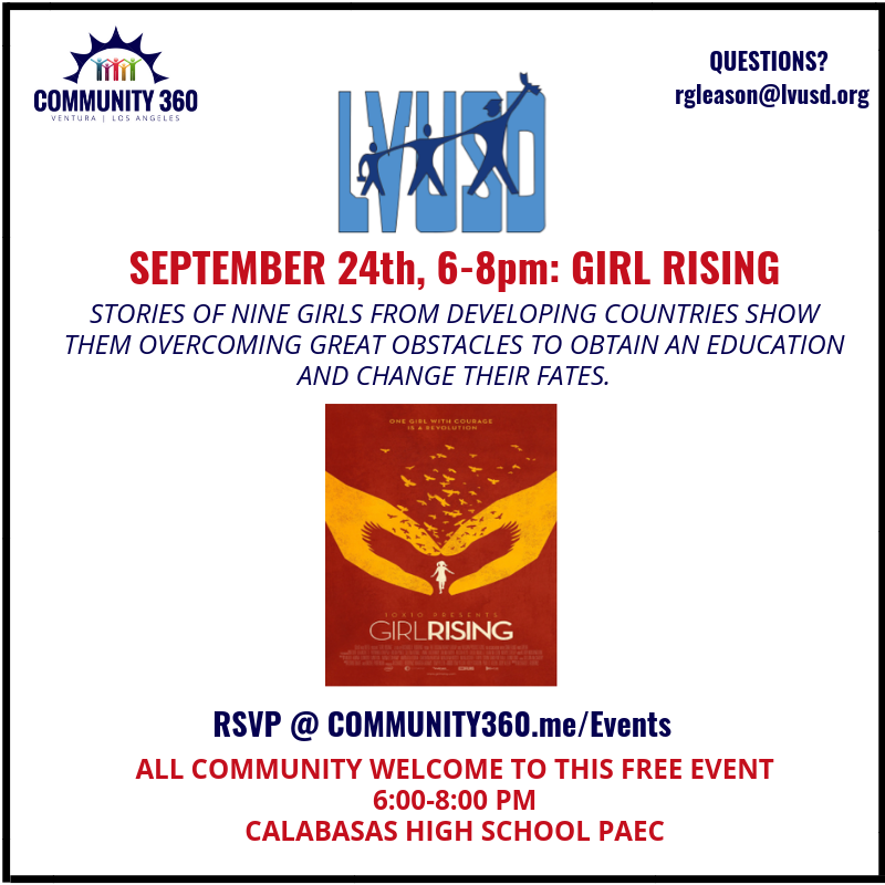 Please join us on September 24 at 6 PM in the C-PAEC for a Documentary Screening of GIRL RISING