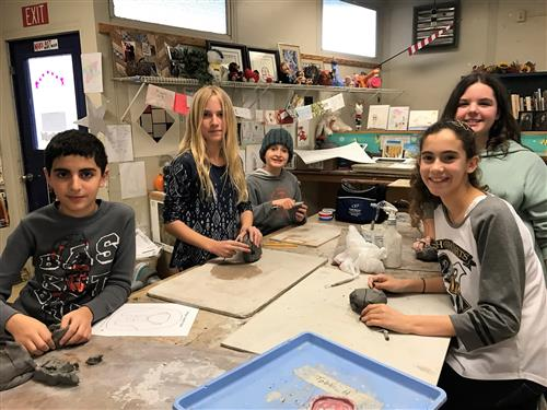 A.E. Wright Middle School students in art class