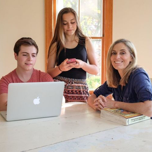 mom and teens with digital devices