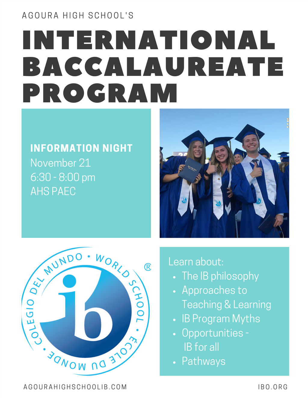 The IB Information Night to the AHS calendar and website? It's Thursday, 11/21 at 6:30pm.