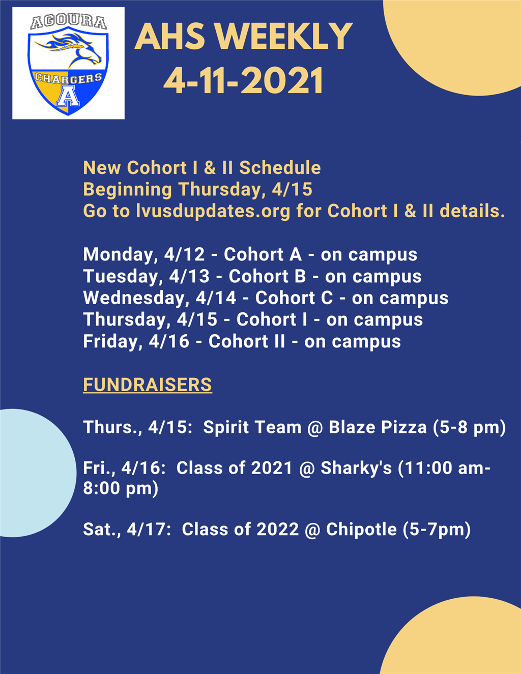 AHS Weekly 4-11-21 along with Principal Stephanie McClay's Updates and links for Cohort I & II Schedules
