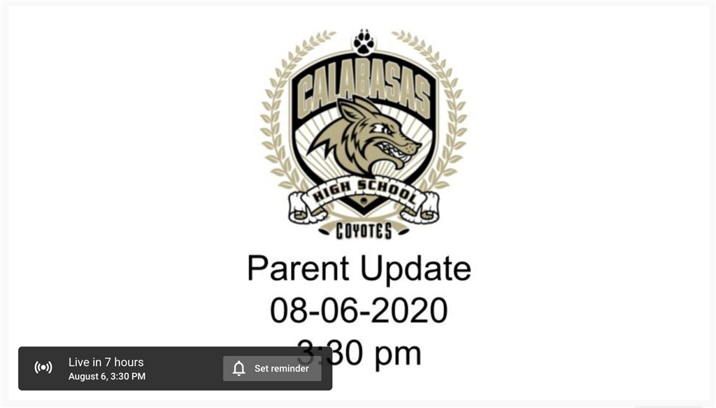 Watch the CHS Parent Update Webinar Recording from 8/6