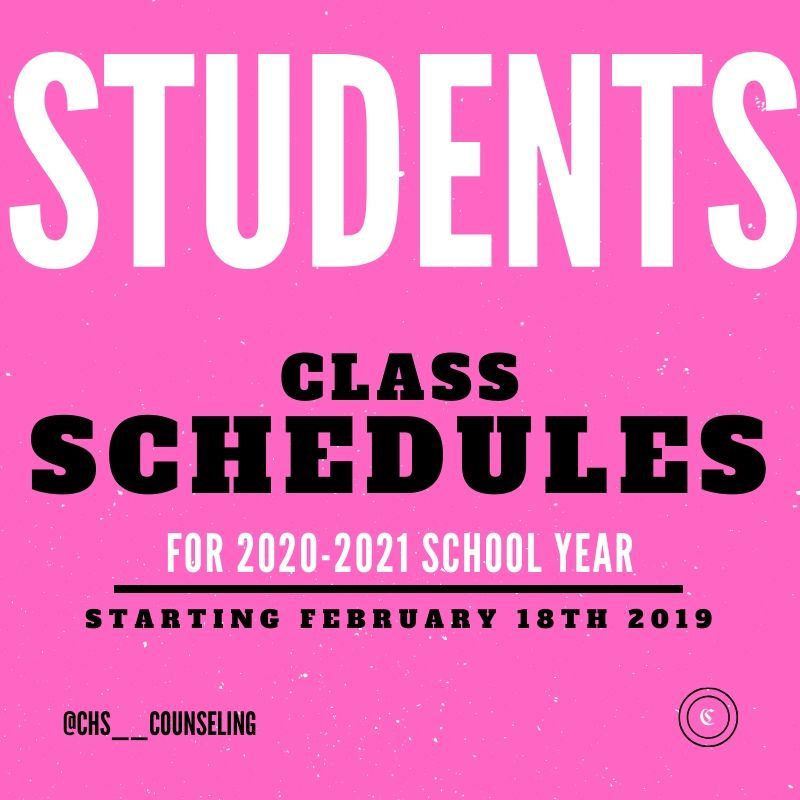 Class Scheduling Information for 2020-2021
